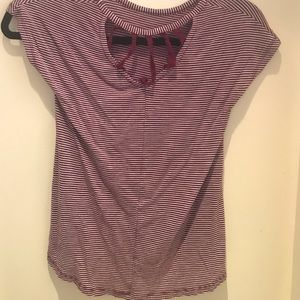 Pre-owned striped top with a partial open back